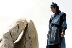 Kim Yushin has it in himself to cleave a rock by striking it thousands of times with wooden swords = the result of a straightforward warrior's weird form of meditation