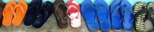 a pair of mismatched flip flops