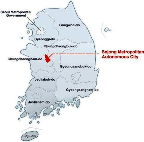 Sejong autonomous city _in map