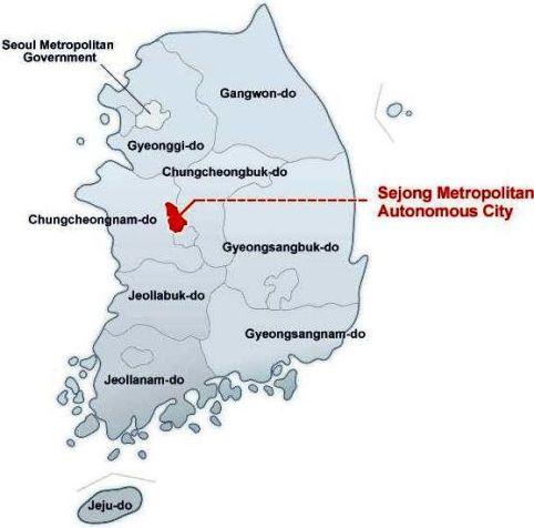 Sejong autonomous city _in map